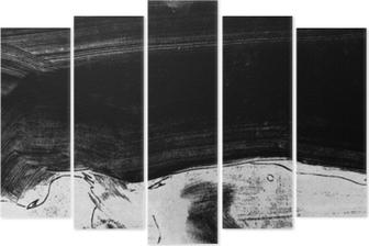 Pentaptyk Czarno-białe ręcznie malowane tekstury tła z pociągnięciami pędzla grunge