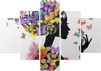 Pentaptyk Dziewczyna mody kwiaty z motyli