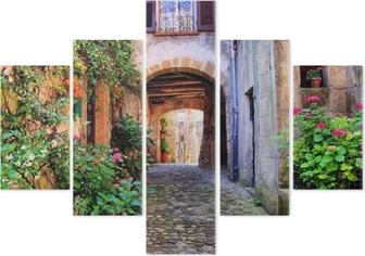 Pentaptyk Łukowata brukowanej ulicy w toskańskiej wiosce, włochy