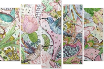 Pentaptyk Moda tekstura z etnicznych kwiatowy ornament i kolibry. Malarstwo akwarelowe