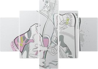 Pentaptyk Para sneakers z koronki w formie serca. Ręcznie rysowane ilustracji wektorowych.