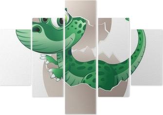 Pentaptyk Szczeniak dinozaura dziecko jaj dinozaura na jego wektora jaj