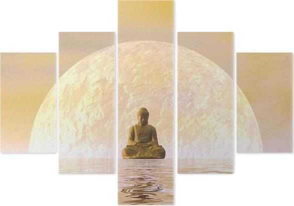 Pentaptyque Bouddha Méditation - 3D render - Styles