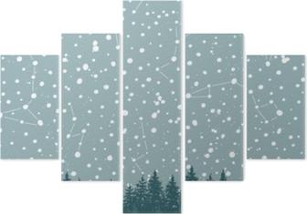 Pentaptyque Ciel de forêt et de nuit avec les étoiles vector background. toile de fond de l'espace.