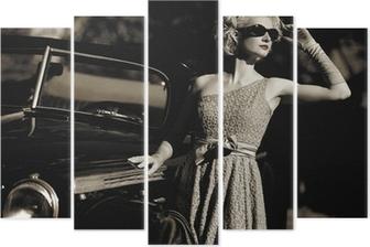 Pentaptyque Femme près d'une voiture en plein air rétro