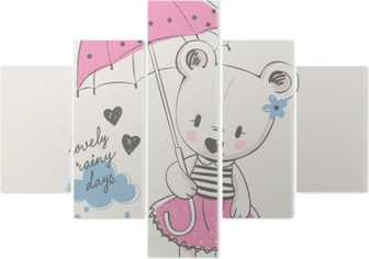 Mignonne Petite Fille Avec Parapluie Dessin Animé Illustration Vectorielle Dessinés à La Main Peut être Utilisé Pour L Impression De T Shirt De