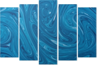 Pentaptyque Turquoise aquarelle fond de marbre