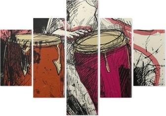 Pentittico Conga giocatore - una mano disegnato illustrazione del grunge