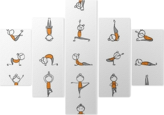 Ufficio Disegno Yoga : Poster le persone che praticano lo yoga 25 pose per il vostro