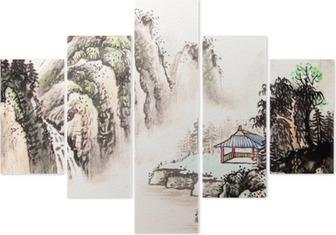 Pentittico Paesaggio cinese acquerello painting__