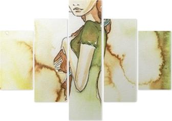 Pentittico Piękna dziewczyna w zielonej secesji