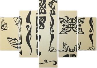 Pentittico Progettazione dei quadri e elementi di Art Nouveau