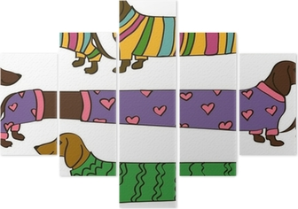 Poster seamless pattern con cartoni animati cani bassotto u2022 pixers