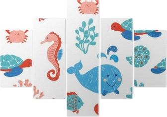 Poster simpatici animali marini seamless nei colori blu e rosa