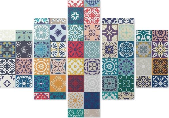 Pentittico splendido design patchwork floreale. piastrelle colorate
