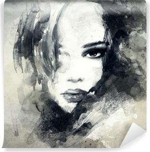 Abstrakti nainen muotokuva Pesunkestävä Valokuvatapetti