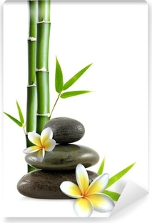 Fleurs de frangipanier, galets zen et bambou Pesunkestävä Valokuvatapetti