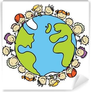 Lapset ympäri maailmaa yhdessä pelastamaan maapallon Pesunkestävä valokuvatapetti