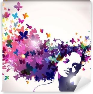 Nainen, jolla on perhosia hiuksissa. Pesunkestävä Valokuvatapetti