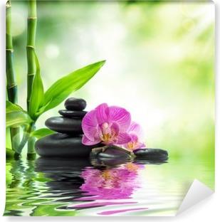 Tausta kylpylä - orkideat mustat kivet ja bambu veteen Pesunkestävä Valokuvatapetti