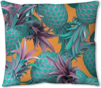 3d rendering of bright tiki style seamless pattern with pineapples. Summer fun background. Trendy poster with vivid colors, pastel blue. Pillow Cover
