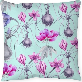Background of a crocus flower with a root. Seamless pattern. Pillow Cover