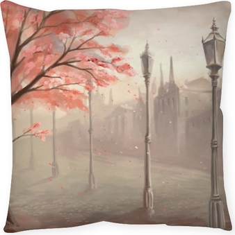 Flowering sakura tree on the background of the old town with lan Pillow Cover