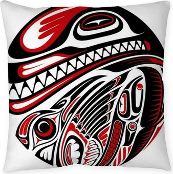 ea1800668 Haida style totem pattern Pillow Cover • Pixers® • We live to change