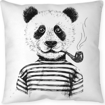 Hand drawn Illustration of hipster panda Pillow Cover
