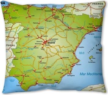 Landkarte Von Spanien Mit Autobahnen Und Hauptstadten Lack Table