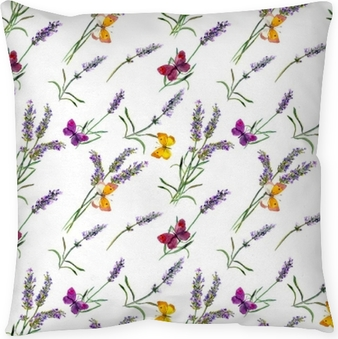 Lavender flowers, butterflies. Watercolor seamless pattern Pillow Cover