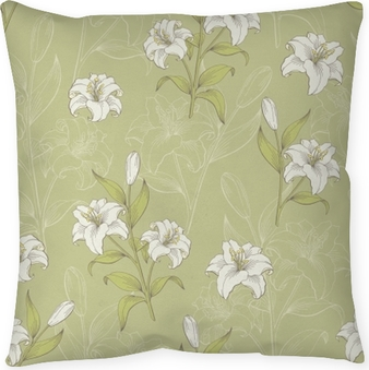 Lily flower graphic color seamless pattern sketch illustration vector Pillow Cover
