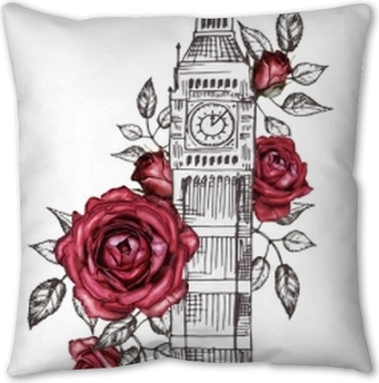 London Poster Design With Rose Graphic Big Ben Watercolor Flower Floral Abstract Background Travel Design Print Hand Painted Illustration Pillow Cover Pixers We Live To Change