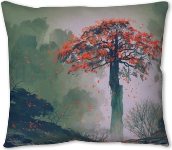 Man Standing In Beautiful Forest With Falling Leaves Illustration Painting Pillow Cover Pixers We Live To Change