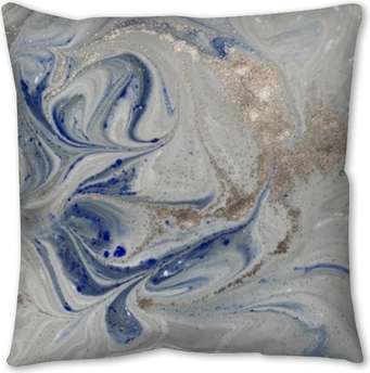 Marble abstract background with golden powder. Nature texture. Pillow Cover