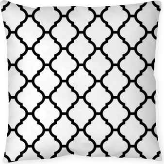 moroccan seamless pattern in black and white Pillow Cover