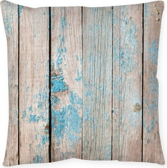 old wooden boards painted with blue paint Pillow Cover