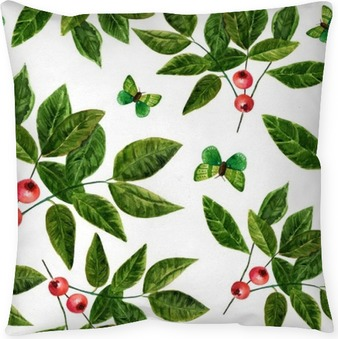 Seamless background pattern with watercolor leaves , berries and butterflies Pillow Cover