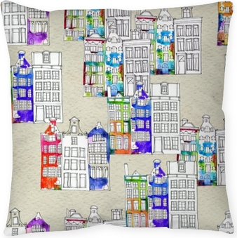 Seamless pattern eith watercolor Amsterdam houses Pillow Cover