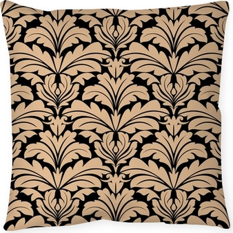 Seamless pattern of beige floral arabesque motifs Pillow Cover