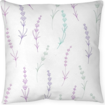 Seamless pattern of lavender flowers on a white background. Watercolor pattern with Lavender for packing. Vector illustration. Pillow Cover
