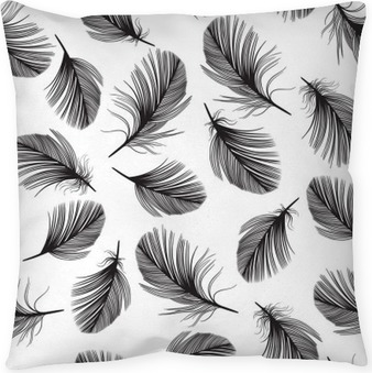 Seamless pattern with hand-drawn feathers. Pillow Cover