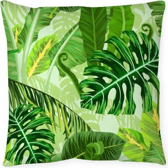 Seamless pattern with tropical palm leaves Pillow Cover