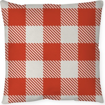 Seamless red and white tablecloth vector pattern. Pillow Cover