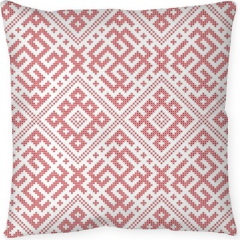 Seamless Russian folk pattern, cross-stitched embroidery imitation. Patterns consist of ancient Slavic amulets. Swatch included in vector file. Pillow Cover
