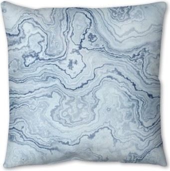 Seamless texture of blue marble pattern for background / illustration Pillow Cover