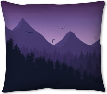 Vector Illustration Of Mountain Landscape With Forest Under Purple Night Sky With Clouds And Flying Birds Pillow Cover Pixers We Live To Change