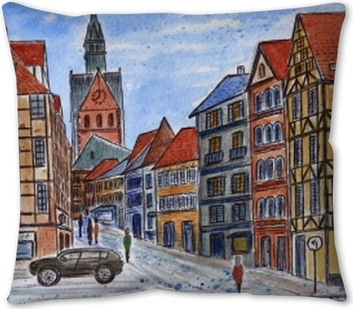Watercolor Drawing Of Hanover An Ancient City In Germany City Sketch Pillow Cover Pixers We Live To Change
