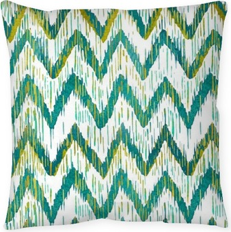 Watercolor ikat chevron seamless pattern. Green and blue watercolour . Bohemian ethnic collection. Pillow Cover