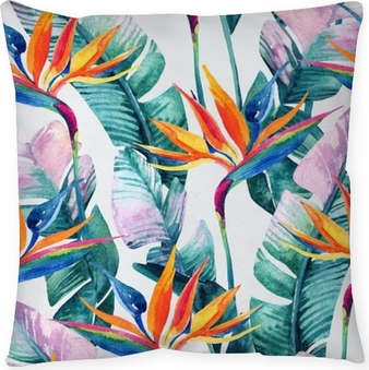 Watercolor tropical seamless pattern with bird-of-paradise flower. Pillow Cover